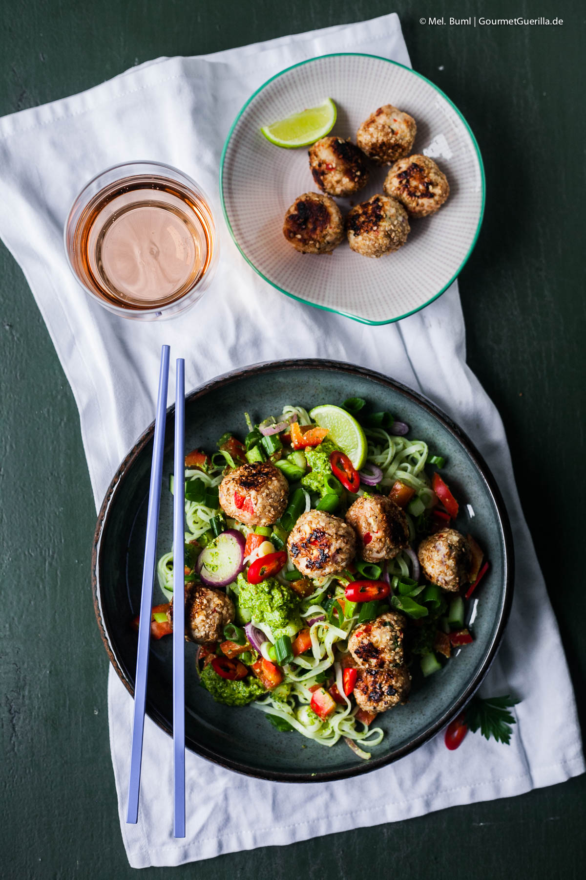 Summer rice noodle salad with Asia pesto and poultry chopping balls | GourmetGuerilla.com