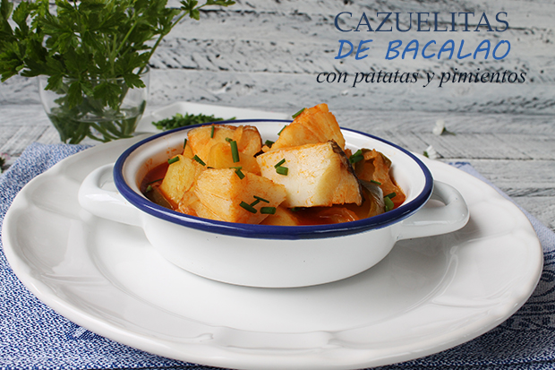 CAKUELITAS DE COD WITH POTATOES AND PEPPERS